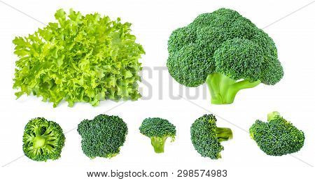 Creative Layout Made Of Lettuce Salad  And Green Broccoli. Fresh Vegetables Isolated On White Backgr