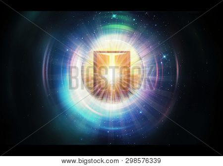 Abstract Colorful 3d Rendering Illustration Of A Bright Heaven Gate That Leads To Another Dimension
