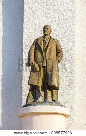 Milkovo, Kamchatka, Russia- 27 September 2014: Monument To Vladimir Ilyich Ulyanov, Better Known By