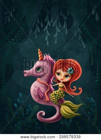 Illustration of a little mermaid