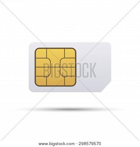 Simcard. Smart Cell Wireless Telecommunications Micro Gsm Chip, Electronics And Telecommunication Mi