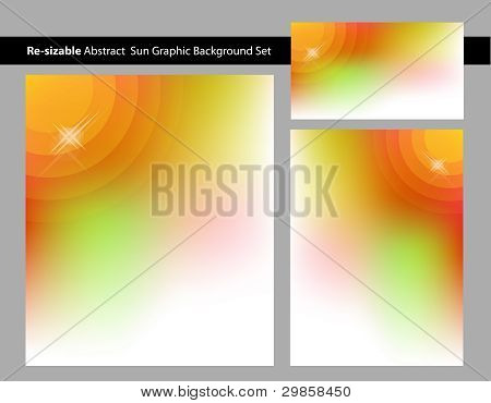 Abstract Sun with Glare Background Template Set