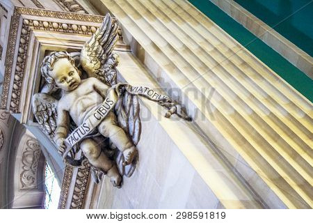 Sao Paulo, Sp, Brazil, September 16, 2007. Sculpture Of An Angel On A Pilaster In The Interior Of Th