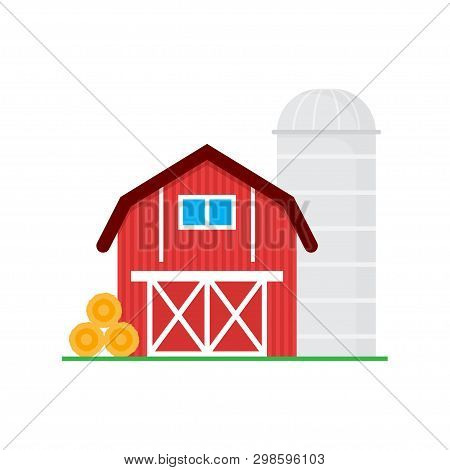 Red Barn For Grain Storage And Harvest, Silo Storage And Haystack. Wooden Agricultural Building. Hor