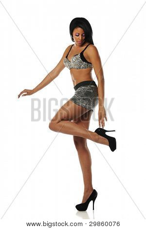 Young African American Woman wearing high heels on a white background
