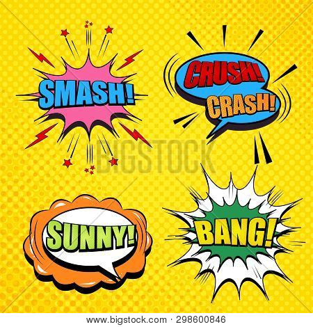 Comic Pages Collection With Smash Crush Crash Sunny Bang Wordings Colorful Speech Bubbles Dotted Sou