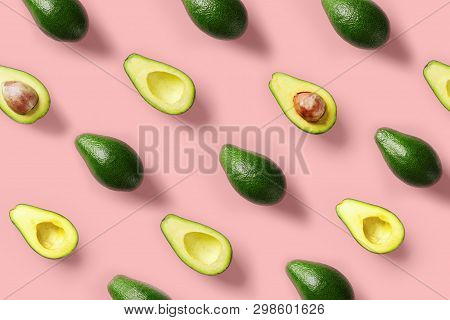 Avocado Colorful Pattern On A Pastel Pink Background. Summer Concept