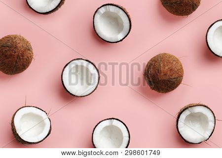 Pattern With Ripe Coconuts On Pink Background. Top View. Copy Space. Pop Art Design, Creative Summer
