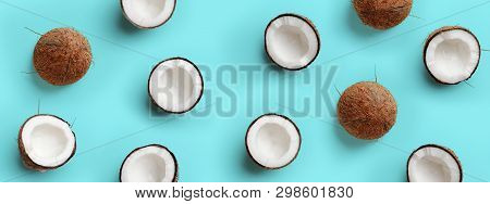 Pattern With Ripe Coconuts On Blue Background. Pop Art Design, Creative Summer Concept