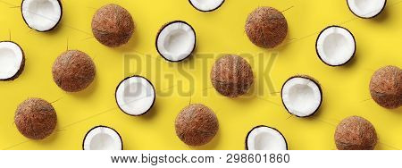 Pattern With Ripe Coconuts On Yellow Background. Pop Art Design, Creative Summer Concept
