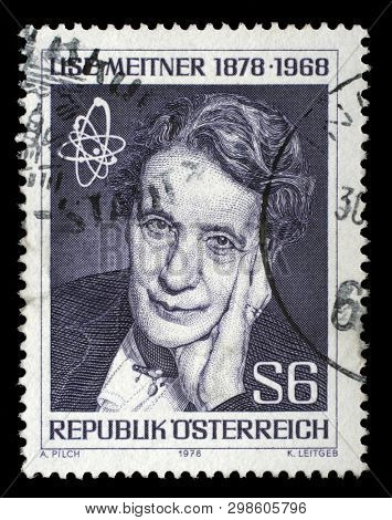 ZAGREB, CROATIA - SEPTEMBER 09, 2014: A stamp issued in the Austria shows Lise Meitner(1878-1968) atomic physicist, the 100th Anniversary of the Birth, circa 1978.