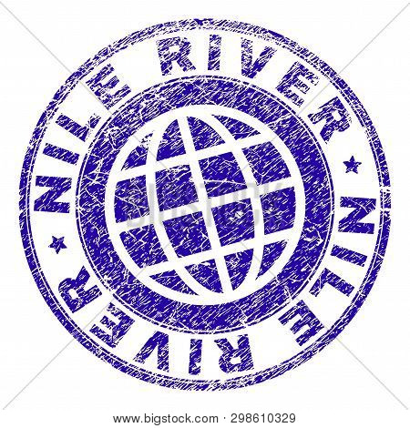 Nile River Stamp Imprint With Grunge Style. Blue Vector Rubber Seal Imprint Of Nile River Caption Wi