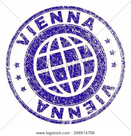 Vienna Stamp Imprint With Grunge Texture. Blue Vector Rubber Seal Imprint Of Vienna Caption With Dus