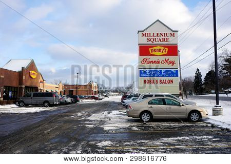 Joliet, Illinois / United States - December 25, 2017: The Millenium Square Strip Mall Includes Denny