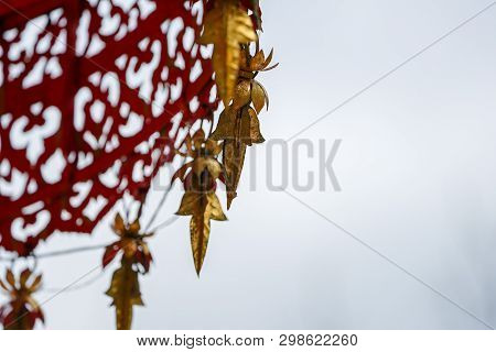 Close Up Vintage Red Gold Tranditional Thail Shading (like An Umbella) Decorated With Gold Mobile Ar