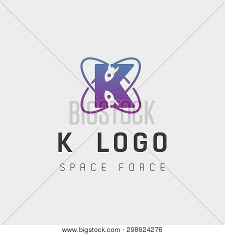 Space Force Logo Design K Initial Galaxy Rocket Vector In Gradient Background