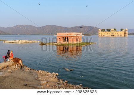Jaipur, India - February 01, 2019: Jal Mahal Is Water Palace In Man Sagar Lake In Jaipur. Rajasthan