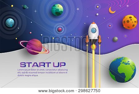 Paper Art Style Of Rocket Flying In Space, Start Up Concept, Design Banner Template, Flat-style Vect