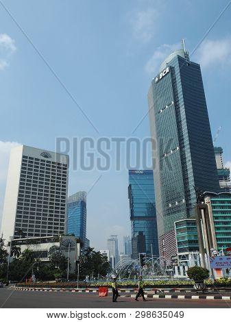 Jakarta, Indonesia - April 17, 2019: Cityscape Of Hotel Indonesia Roundabout Bundaran Hi On Thamrin