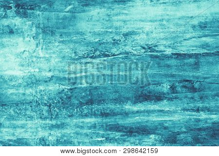 Turquoise Paint Stains On Canvas. Abstract Illustration With Turquoise Blots On Soft Background. Cre