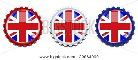 Union Jack  bottle caps.  Condensation drops on separate layer for easy editing. EPS10 vector format.