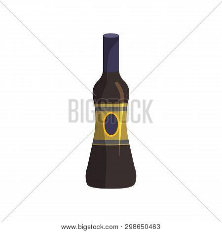 Wine Cartoon Illustration. Liqueur, Balm, Dark Bottle With Blank Label. Alcohol Concept. Vector Illu