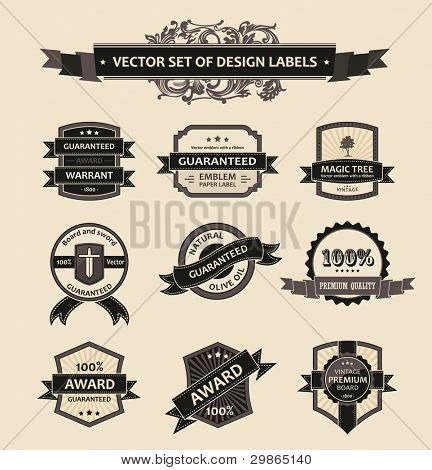 Vector set vintage ornate decor elements. ornaments ribbon black labels. illustration