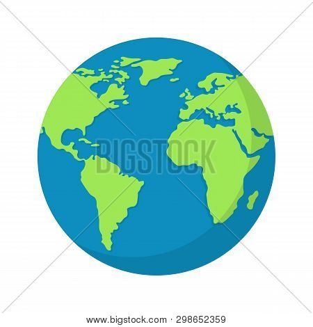 Earth Globe Isolated On White Background. World Map. Earth Icon. Clean And Modern Vector Illustratio