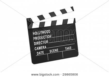 A movie production film slate isolated on white