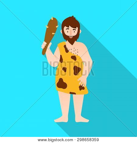 Vector Design Of Neanderthal And Man Symbol. Collection Of Neanderthal And Prehistoric Stock Symbol