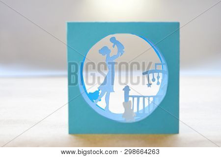 Tunnel Book. Composition Of Different Tunnelbook. 3D Greeting Card Mothers Day. Modern 3D Origami Pa