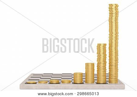 Chessboard With Growing Height Coins Stacks Exponential Growth And Compound Interest Concept 3D Illu