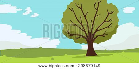 Nature Landscape With Tree , Clouds And Sky Background.vector Illustration.mountains Hills Green Gra