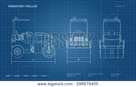 Vibratory Roller In Outline Style. Side, Back And Front View. Building Machinery Image. Industrial I