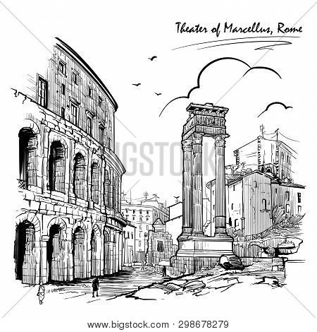 Theater Of Marcellus And Portico Of Octavia In Rome, Italy. Engraving Style Sketch. Vintage Design.