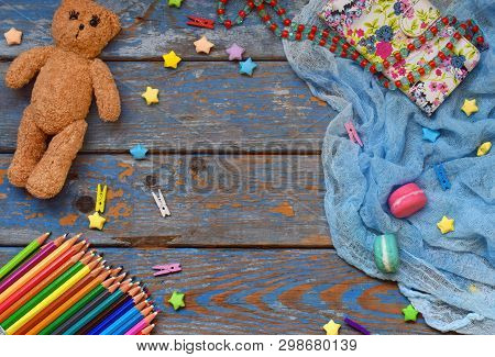 Children Frame With Toy, Pencils, Paper Stars, Teddy Bear. Kids Zone Concept. Place For Text.