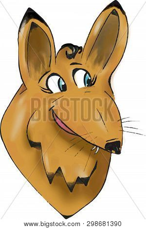 Toon Fox Head Illustration. Pretty Girl Fox With Long Eyelashes. Transparent Png.