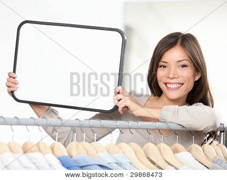 Shop Sign Woman