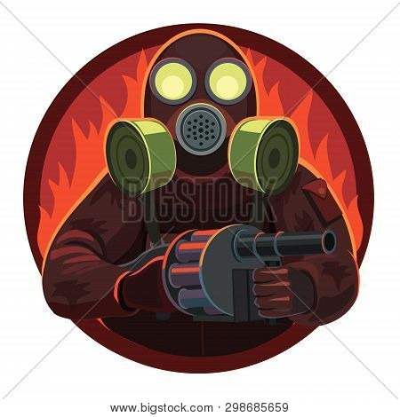 Soldier Gas Mask With Grenade Launcher, He Stands Proudly Because He Has A Weapon, He Is Invincible