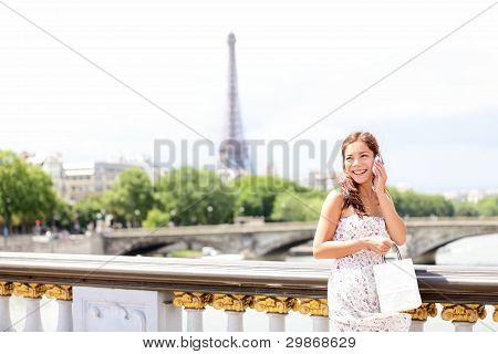 Paris Woman On Phone