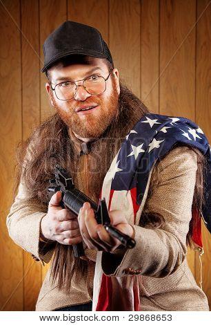 American White Trash Holding Gun Wearing Flag