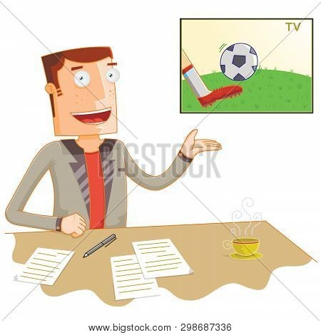 Illustration Of A Broadcast News Soccer Presenter