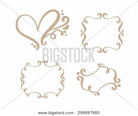 Vector Vintage Set Of Border Frames Engraving With Retro Ornament In Antique Rococo Style Decorative