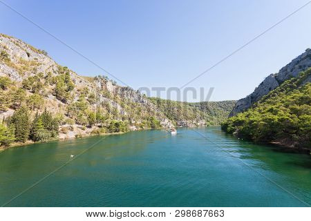 Skradin, Croatia, Europe - Entering The River Mouth To Skradin