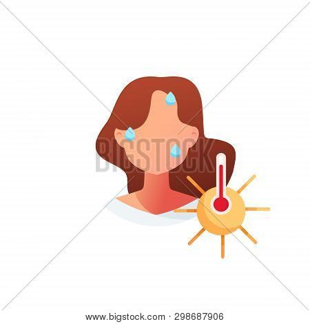 Summer Heat. Sunstroke. The Girl Sweats From The Heat. Young Woman Who Became A Heat Stroke.