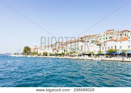 Sibenik, Croatia, Europe - August 31, 2017 - Tourists At The Promenade Of Sibenik