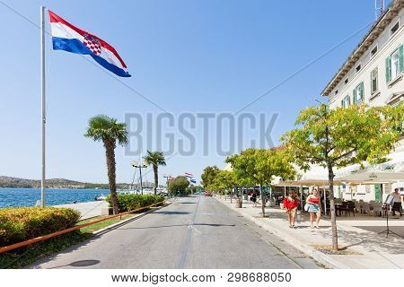Sibenik, Croatia, Europe - August 31, 2017 - Several Tourists At The Promenade Of Sibenik