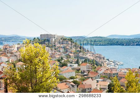 Sibenik, Croatia, Europe - Aerial View Upon The Old Town Of Sibenik