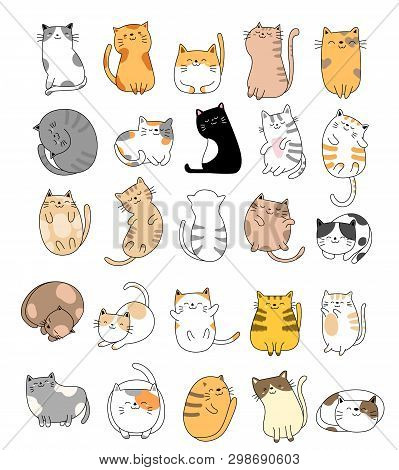 Cute Baby Cats Cartoon Hand Drawn Style,for Printing,card, T Shirt,banner,product.vector Illustratio