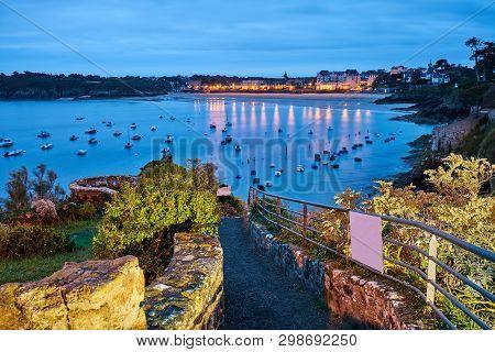 Saint-lunaire Beach During Blue Hour, Brittany, Ille-et-vilaine,
